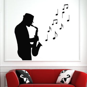Jazz Saxophone Musician Sax Man Musical Notes Wall Art Sticker (AS10147)