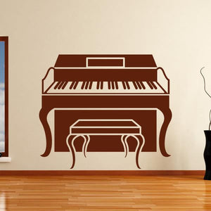 Piano with Stool Musical Instrument Wall Art Sticker (AS10149) - Apex Stickers
