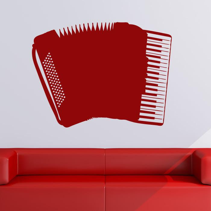 Accordion Musical Instrument Wall Art Sticker - Apex Stickers