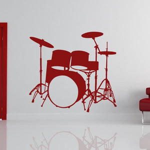 Drum Kit Musical Instrument Drums Wall Art Sticker (AS10157) - Apex Stickers
