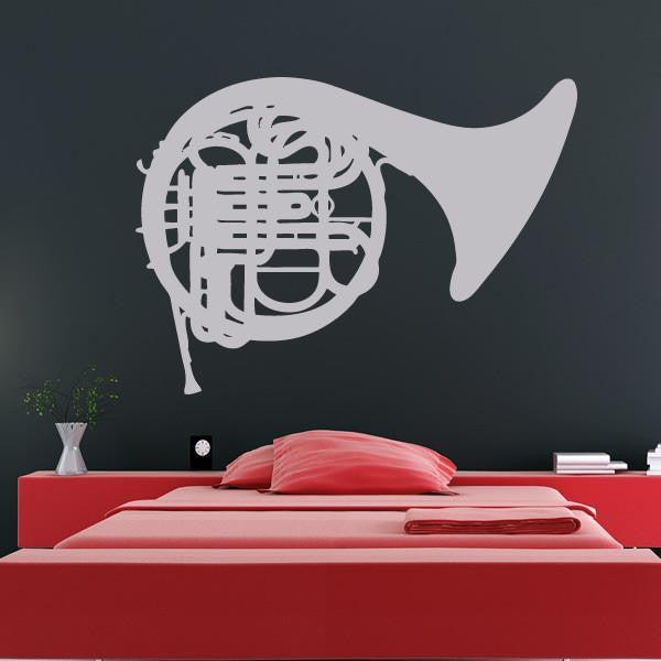 French Horn Musical Instrument Wall Art Sticker - Apex Stickers