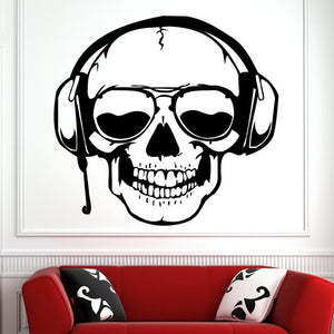 Skull Headphones DJ Sunglasses Wall Art Sticker - Apex Stickers