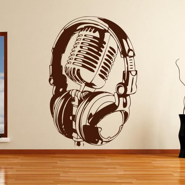 Microphone Headphones Vocalist DJ Musician Wall Art Sticker - Apex Stickers