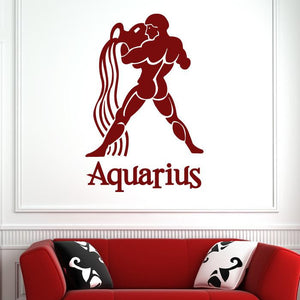 Aquarius Zodiac Star Sign Horoscope Wall Art Sticker (AS10170) - Apex Stickers