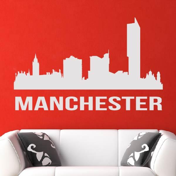 Manchester UK Cityscape Skyline Wall Art Sticker (AS10279) - Apex Stickers