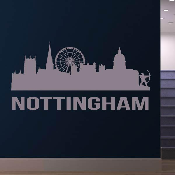 Nottingham UK Cityscape Skyline Wall Art Sticker - Apex Stickers