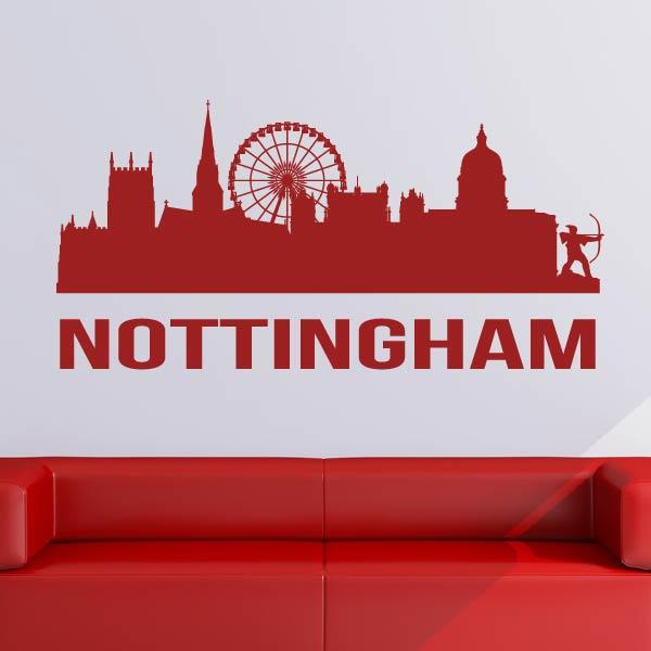 Nottingham UK Cityscape Skyline Wall Art Sticker (AS10280) - Apex Stickers