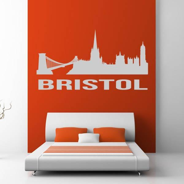 Bristol UK Cityscape Skyline Wall Art Sticker (AS10283) - Apex Stickers