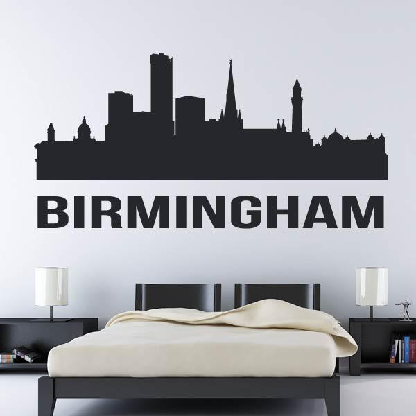 Birmingham UK Cityscape Skyline Wall Art Sticker - Apex Stickers