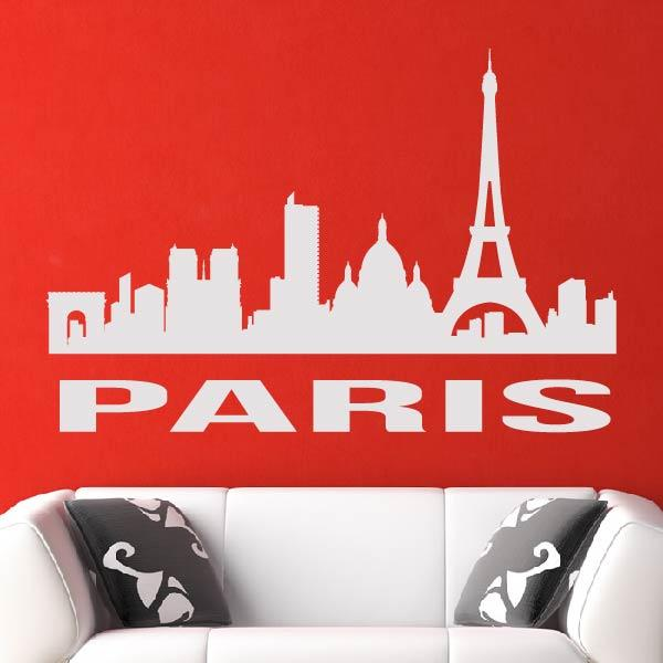 Paris France Cityscape Skyline Wall Art Sticker - Apex Stickers
