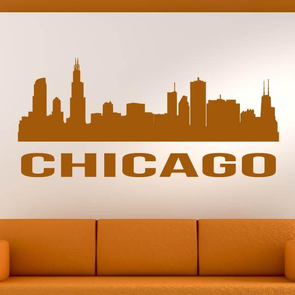 Chicago USA Cityscape Skyline Wall Art Sticker - Apex Stickers
