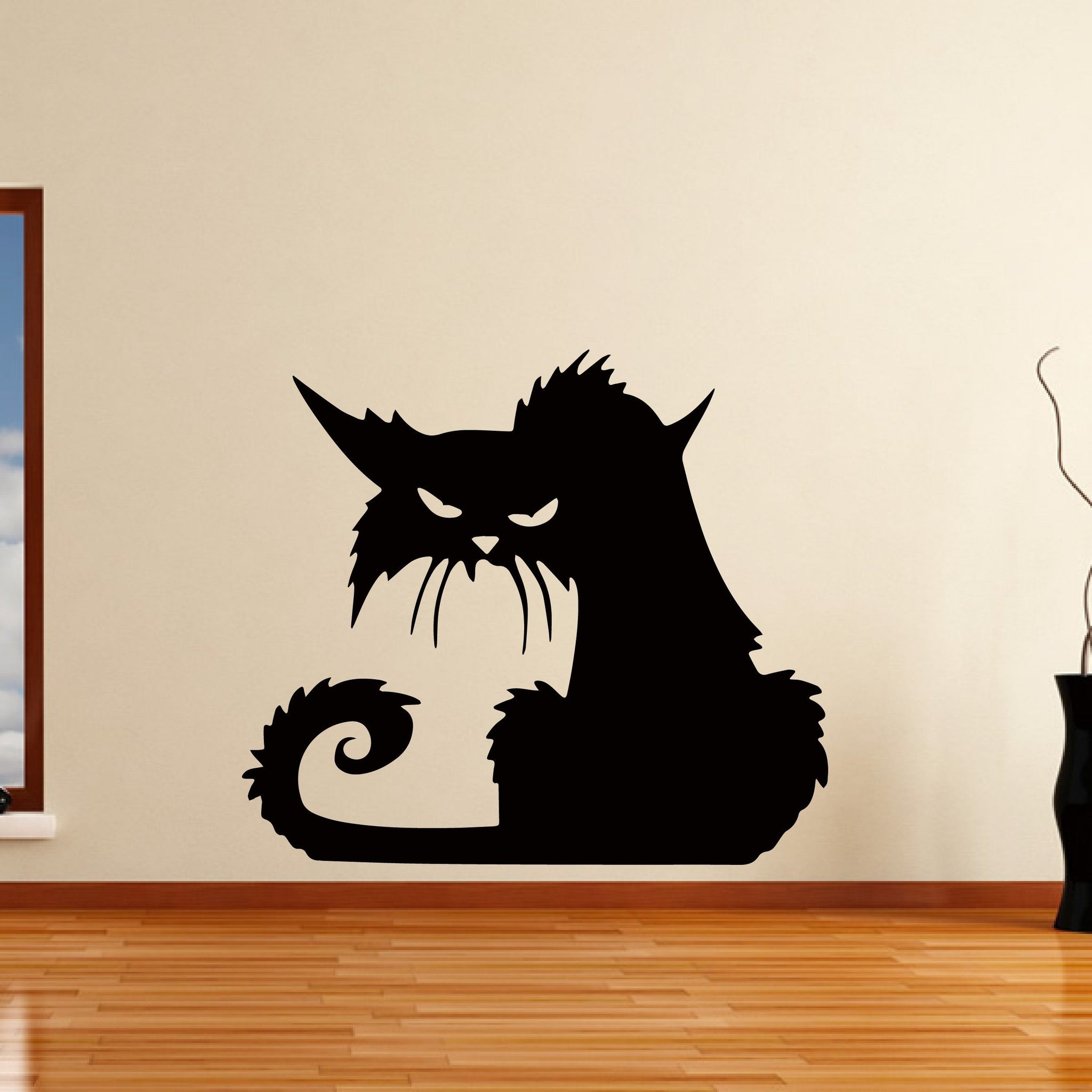 Evil Cat Halloween Witches Horror Spooky Wall Art Sticker - Apex Stickers