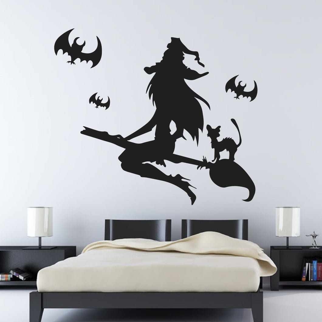 Flying Witch on Broomstick with Cat and Bats Wall Art Sticker - Apex Stickers