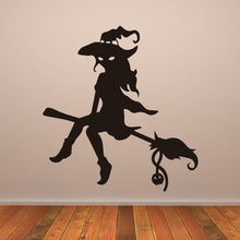 Load image into Gallery viewer, Witch on Broomstick Halloween Wall Art Sticker - Apex Stickers