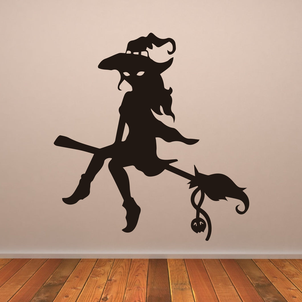 Witch on Broomstick Halloween Wall Art Sticker - Apex Stickers