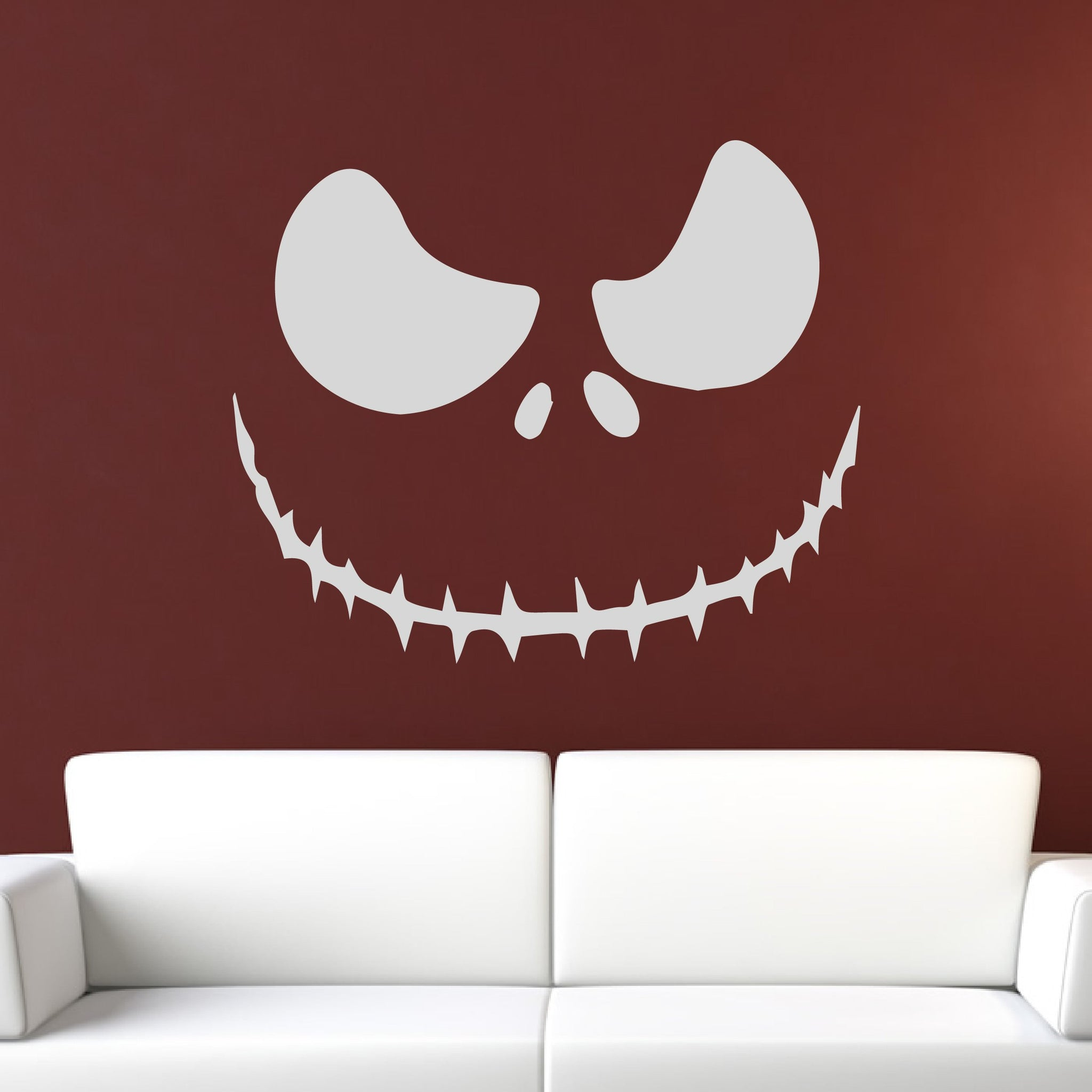 Jack o Lantern Halloween Skellington Creepy Face Wall Art Sticker - Apex Stickers