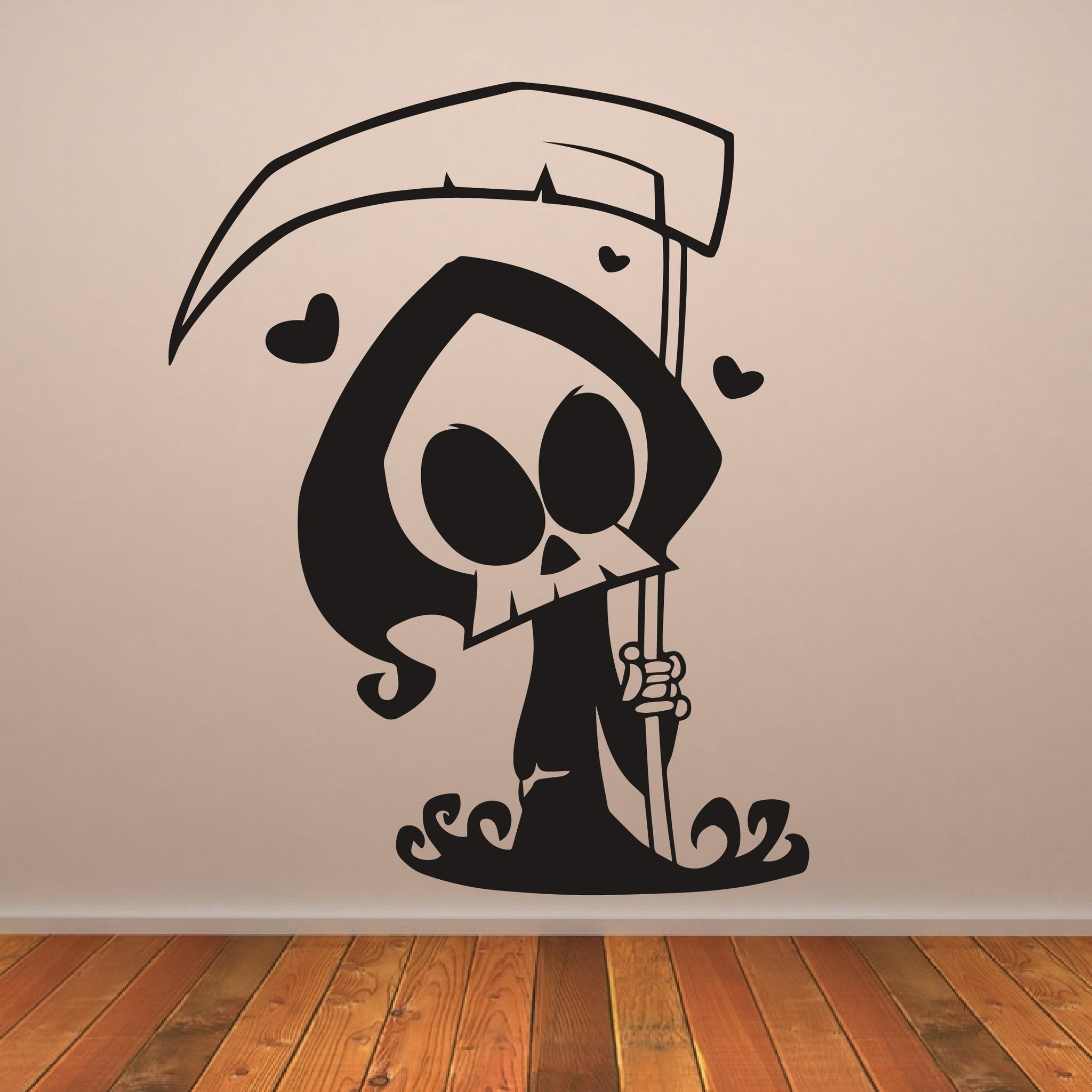Cute Cartoon Grim Reaper Wall Art Sticker - Apex Stickers