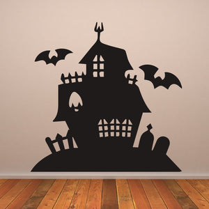 Haunted House Creepy Mansion Halloween Wall Art Sticker (AS10314)