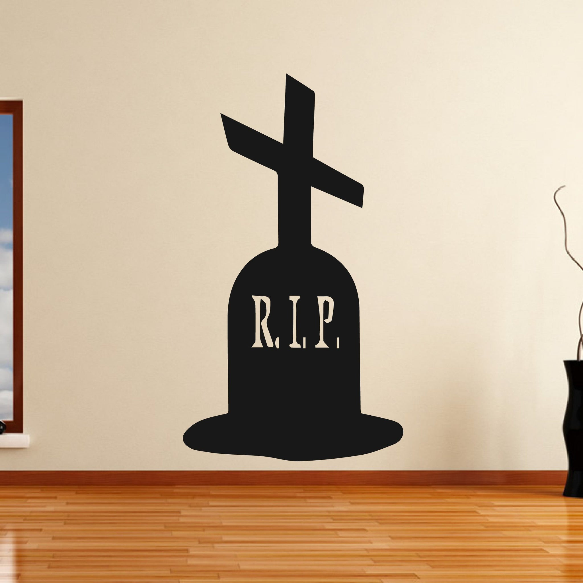 Grave Stone Cross Halloween Scary Horror RIP Wall Art Sticker (AS10315) - Apex Stickers