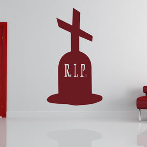 Grave Stone Cross Halloween Scary Horror RIP Wall Art Sticker (AS10315)