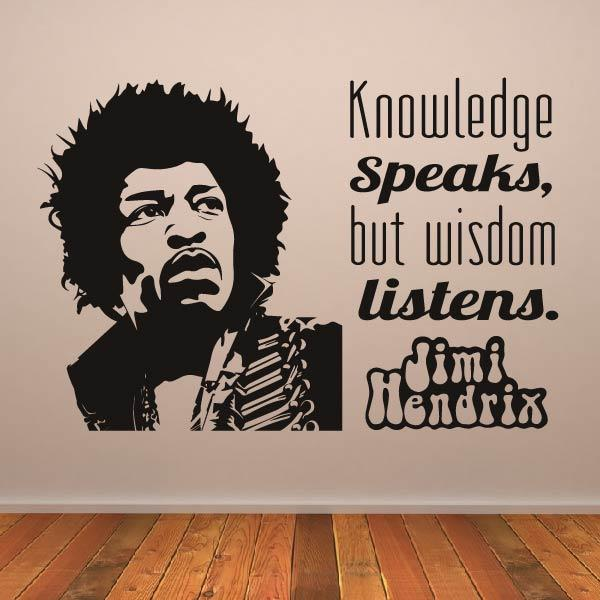 Jimi Hendrix Knowledge Speaks Quote Wall Art Sticker - Apex Stickers