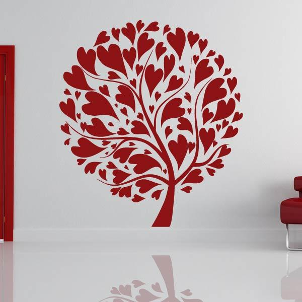 Love Heart Tree Wall Art Sticker (AS10320) - Apex Stickers