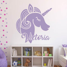 Load image into Gallery viewer, Unicorn Wall Art Sticker - Personalised Name - Apex Stickers