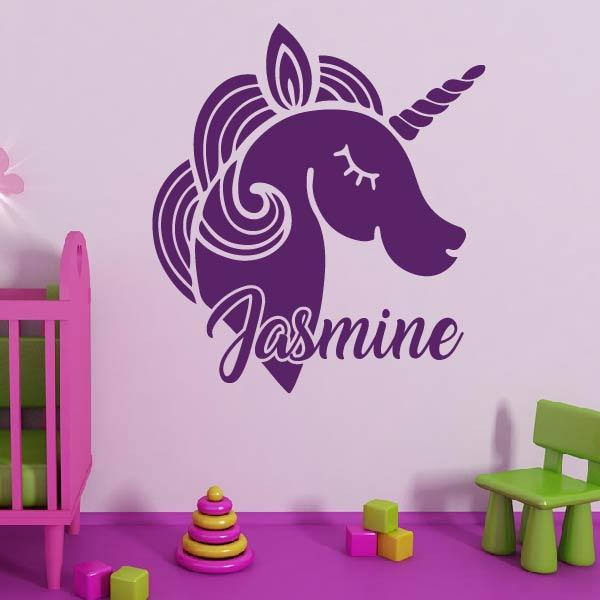 Unicorn Wall Art Sticker - Personalised Name - Apex Stickers