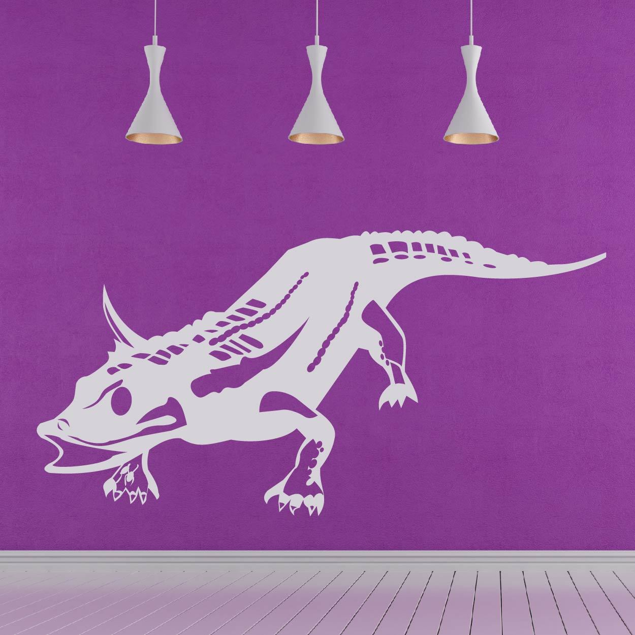 Horned Alligator Dinosaur Wall Sticker - Apex Stickers