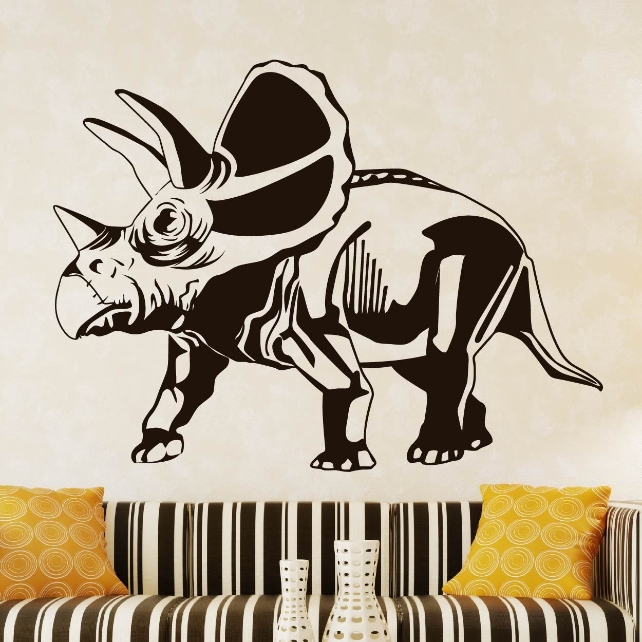 Torosaurus Dinosaur Wall Art Sticker (AS10342) - Apex Stickers
