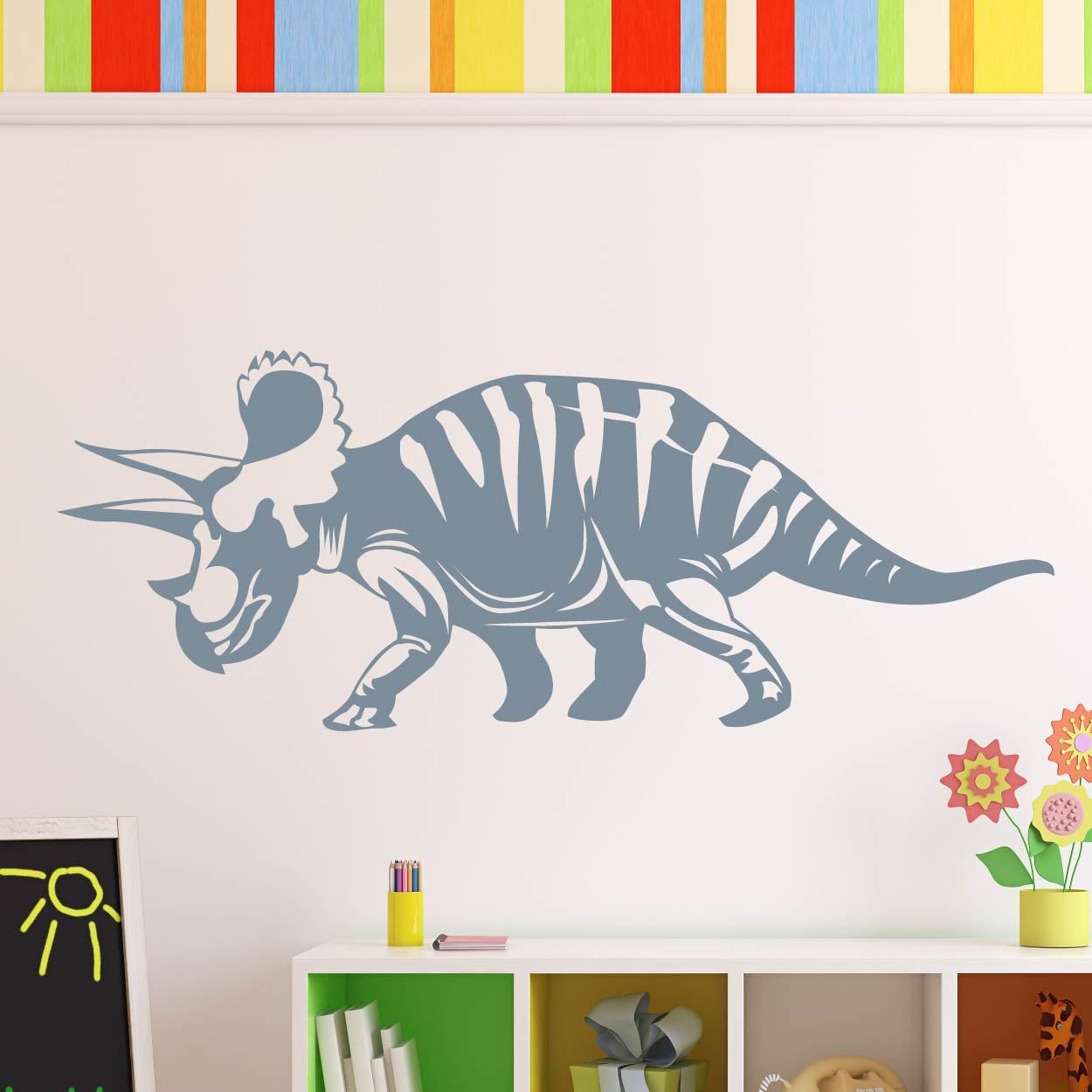 Triceratops Dinosaur Wall Art Sticker (AS10343) - Apex Stickers