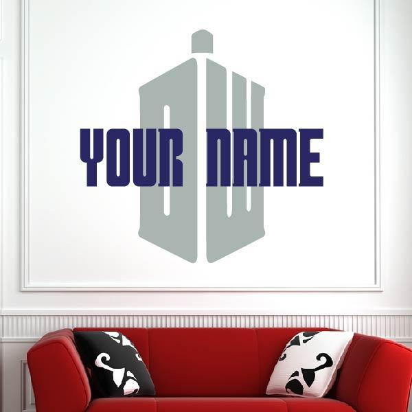 Personalised Name Doctor Who Logo Wall Art Sticker (AS10349) - Apex Stickers