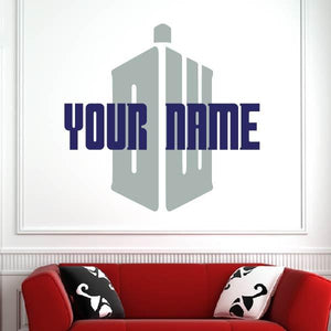 Personalised Name Doctor Who Logo Wall Art Sticker (AS10349)