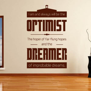 Doctor Who Optimist and Dreamer Quote Wall Art Sticker - Apex Stickers