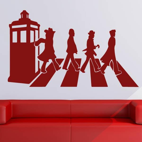Dr Who Zebra Crossing Beatles Parody Wall Art Sticker - Apex Stickers