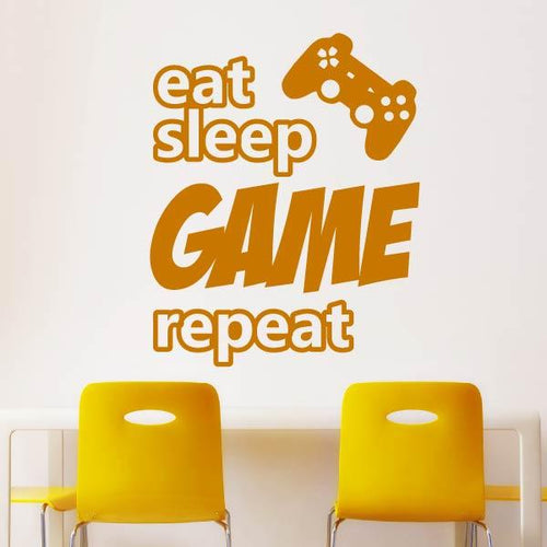 Eat Sleep Game Repeat Playstation Controller Wall Sticker - Apex Stickers