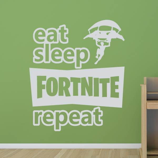 Eat Sleep Fortnite Repeat Wall Sticker - Apex Stickers