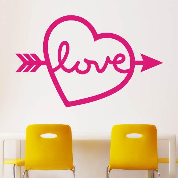 Love Island Heart Arrow Wall Art Sticker (AS10378) - Apex Stickers