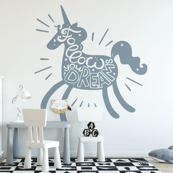 Childrens Unicorn Follow Your Dreams Wall Art Sticker (AS10385) - Apex Stickers