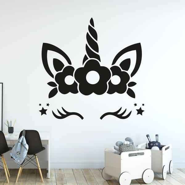 Unicorn Face Eyelashes Flowers Stars Wall Art Sticker (AS10386) - Apex Stickers
