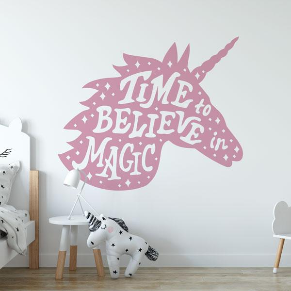 Unicorn Head Time to Believe in Magic Wall Art Sticker (AS10387) - Apex Stickers