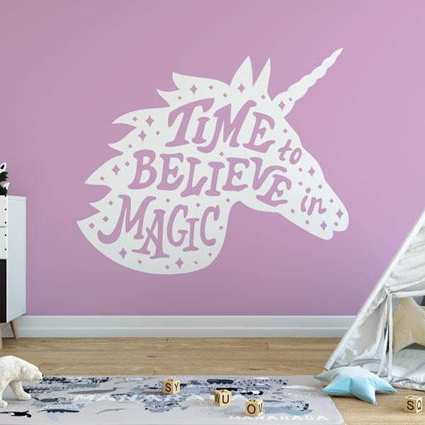 Unicorn Head Time to Believe in Magic Wall Sticker - Apex Stickers