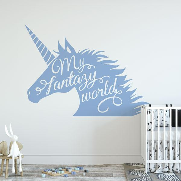 Unicorn Head My Fantasy World Wall Sticker - Apex Stickers