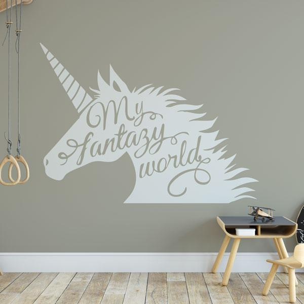 Unicorn Head My Fantasy World Wall Art Sticker (AS10388) - Apex Stickers