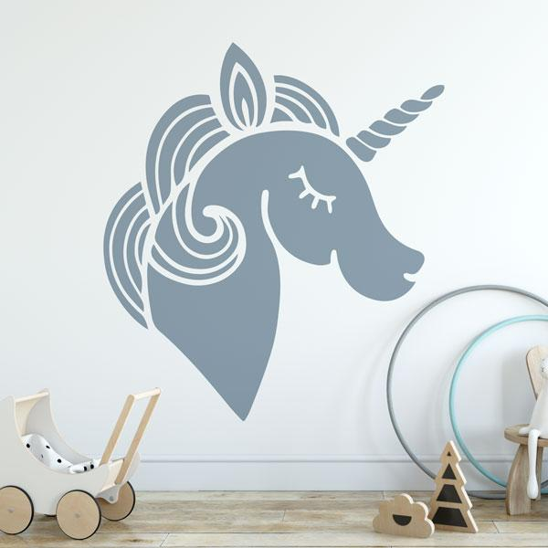 Childrens Stylised Unicorn Head Wall Art Sticker (AS10389) - Apex Stickers