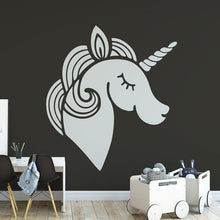 Load image into Gallery viewer, Childrens Stylised Unicorn Head Wall Sticker - Apex Stickers