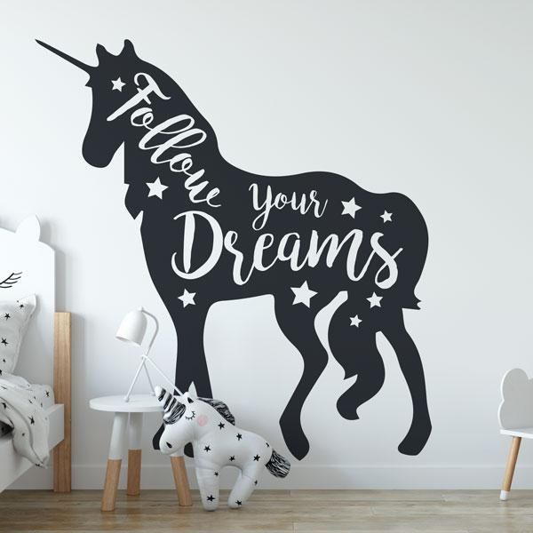Unicorn Follow your Dreams Wall Art Sticker (AS10391) - Apex Stickers