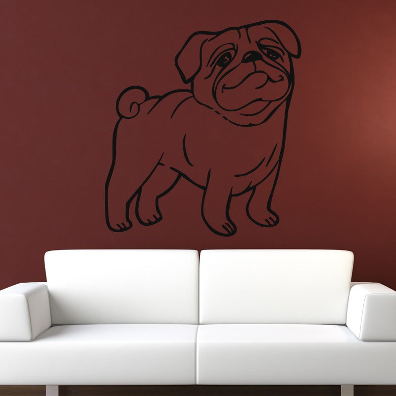 Pug Dog Cartoon Wall Art Sticker - Apex Stickers