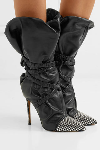 alexandre vauthier leather boots with crystal embellishment