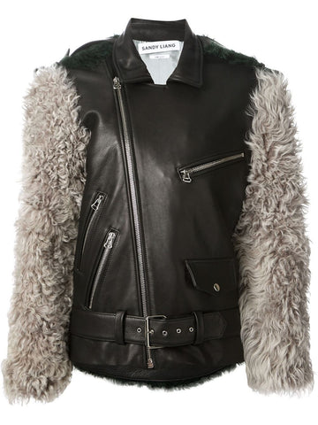 Oversized biker jacket with fur